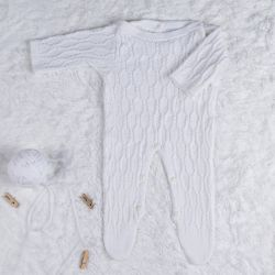 Macacão Tricot Colmeia Branco Chantilly