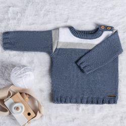 Suéter Tricot Listra Azul Jeans e Cinza