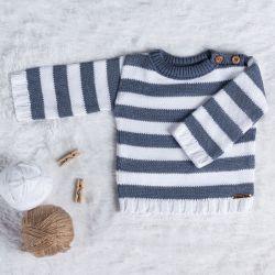 Suéter Tricot Listrado Azul Jeans