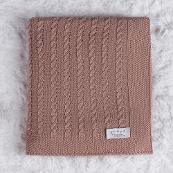 Manta Tricot Trança Nude Rosé 80cm