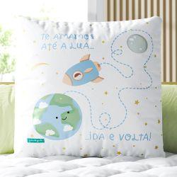 Almofada Quadrada Te Amamos até a Lua Ida e Volta 33cm