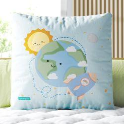 Almofada Quadrada Planeta Terra e o Foguete 33cm