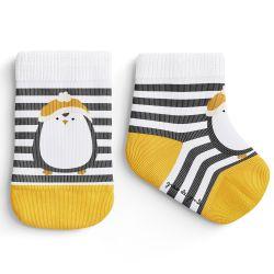 Meia Bebê Trocapé Pinguim Listrada Cinza e Amarelo