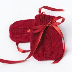 Luvas para Bebê Tricot Trança Vermelho