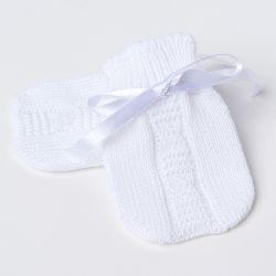 Luvas para Bebê Tricot Trança Branco
