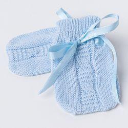 Luvas para Bebê Tricot Trança Azul