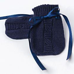 Luvas para Bebê Tricot Trança Azul Marinho