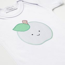 Body Manga Longa Frutinha Maçã Verde