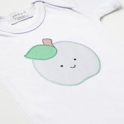 Body Manga Curta Frutinha Maçã Verde