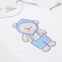 Body Manga Curta Ursinho Bebê Azul