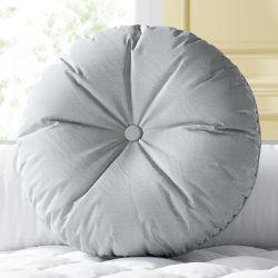 Almofada Redonda Botão Cinza 30cm