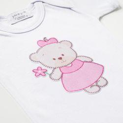 Body Manga Curta Ursinha Bebê Rosa