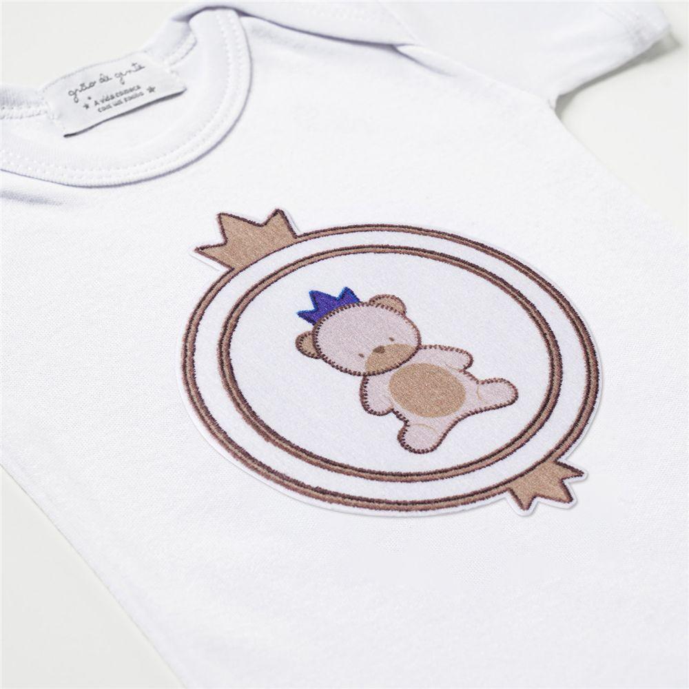 Body Bebê Menino Urso Teddy Realeza Malha P Grão De Gente