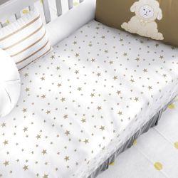 Manta Bebê Berço Estrelinhas Branco e Marrom Avelã 1m