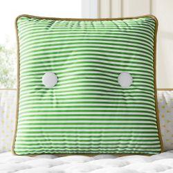 Almofada Quadrada Listras e Botões Verde 38cm