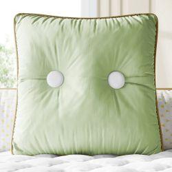 Almofada Quadrada Botões Verde Malva 38cm