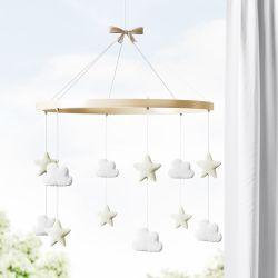 Móbile Nuvem e Estrela Branco e Bege
