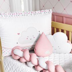 Kit Berço Trança Nuvem Coração Rosa