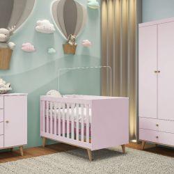 Quarto de Bebê Ludi Retrô Rosa com Berço/ Cômoda/ Guarda-roupa 3 Portas