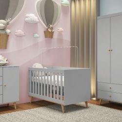 Quarto de Bebê Ludi Retrô Cinza com Berço/ Cômoda/ Guarda-roupa 3 Portas