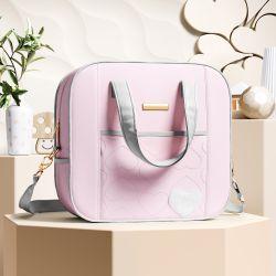 Bolsa Maternidade Coração Rosa e Cinza 34cm