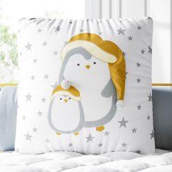Almofada Quadrada Família Pinguim Estrelinha 38cm