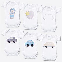 Kit Body Manga Curta Ursinho Bebê, Carrinhos e Amiguinhos Céu Leve 6 Pague 5