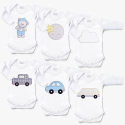 Kit Body Manga Longa Ursinho Bebê, Carrinhos e Amiguinhos Céu Leve 6 Pague 5