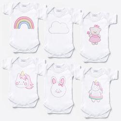 Kit Body Manga Curta Amiguinhas, Unicórnios e Ursinha Bebê Leve 6 Pague 5