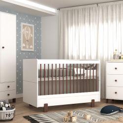 Quarto de Bebê Noah Branco/Madeira com Berço/Cômoda com Porta/Guarda-roupa 2 Portas