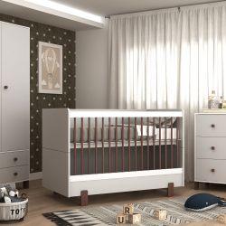 Quarto de Bebê Noah Cinza/Madeira com Berço/Cômoda com Porta/Guarda-roupa 2 Portas