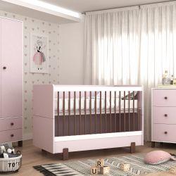 Quarto de Bebê Noah Rosa/Madeira com Berço/Cômoda com Porta/Guarda-roupa 2 Portas