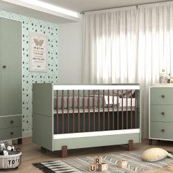 Quarto de Bebê Noah Verde/Madeira com Berço/Cômoda com Porta/Guarda-roupa 2 Portas