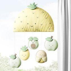 Móbile Abacaxi com 5 Frutinhas Amarelo e Verde