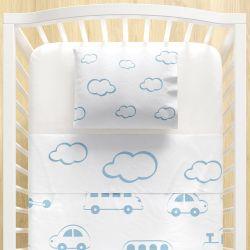 Jogo Lençol de Berço Nuvens e Carrinhos Azul 3 peças