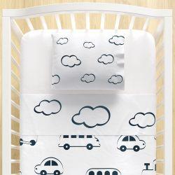 Jogo Lençol de Berço Nuvens e Carrinhos Azul Marinho 3 peças