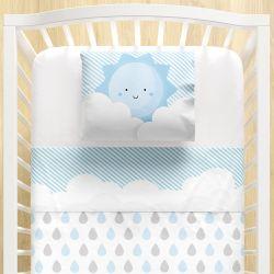 Jogo Lençol de Berço Nuvem de Algodão Azul 3 peças