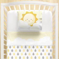 Jogo Lençol de Berço Nuvem de Algodão Amarelo 3 peças