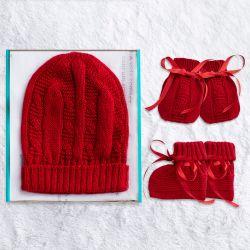 Meu Primeiro Presente Tricot Vermelho 03 Peças
