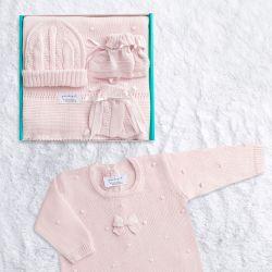 Saída Maternidade Tricot Bolinha Rosa 05 Peças