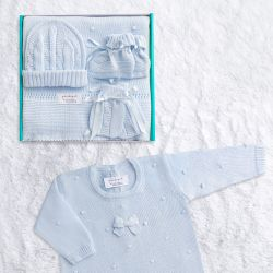 Saída Maternidade Tricot Bolinha Azul 05 Peças