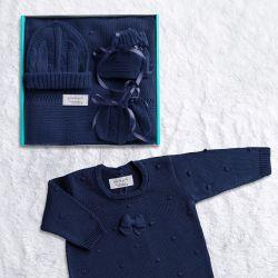 Saída Maternidade Tricot Bolinha Azul Marinho 05 Peças