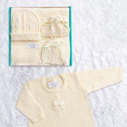 Saída Maternidade Tricot Bolinha Amarelo 05 Peças