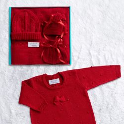 Saída Maternidade Tricot Bolinha Vermelho 05 Peças