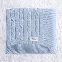 Manta Tricot Trança Chic Azul 80cm