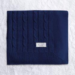 Manta Tricot Trança Chic Azul Marinho 80cm
