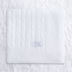 Manta Tricot Trança Chic Branco 80cm