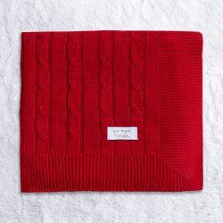 Manta Tricot Trança Chic Vermelho 80cm