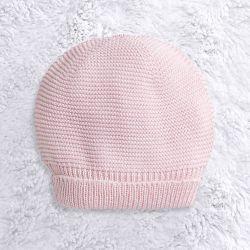 Touca para Bebê Tricot Liso Rosa