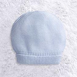 Touca para Bebê Tricot Liso Azul
